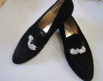 Vintage Evening Suede Loafers Size 9M Glitzy Comfort Rhinestone and Pearls Lounging, Gypsy/BoHo/Retro