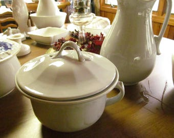 White Ironstone Chamber Pot with Lid Antique White Ironstone Chamber Pot and Lid Ironstone