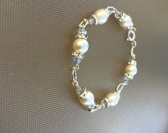 Sterling Silver Faux Pearl and and Silver link Bracelet With CZ