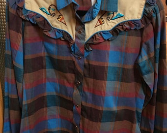 Vintage Western Women's Shirt, Kenny Rogers Western Collections by Karman, Cowgirl Tan, Blue, Red and Brown Plaid with Embroidered Designs
