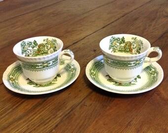 Pair Mason's patent ironstone tea cups saucers Manchu green china transferware transfer ware English country Chinoiserie Boho Chic serveware