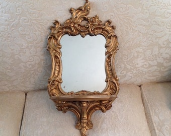 Syroco Wood ornate gold wall mirror with shelf Hollywood Regency Paris apartment French provencial shabby cottage chic hanging home decor