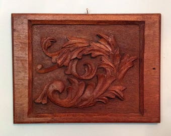 Antique carved wood panel wall hanging architectural salvage reclaimed art handcarved rustic farmhouse cabin home decor