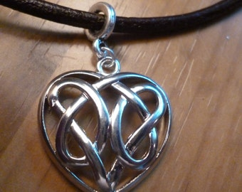 Celtic heart necklace on leather