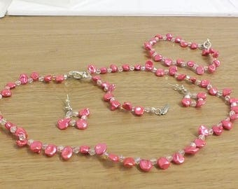 Fuschia pink keshi pearl and swarovski crystal necklace, bracelet and earrings