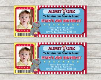 Circus Ticket Birthday Invitations - Digital File
