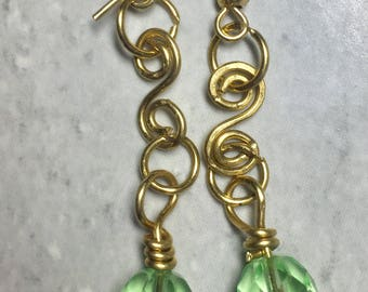 Green Crystal and Gold Wire Dangle Earrings