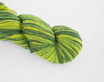 Artistic wool, laceweight art wool in green yellow color