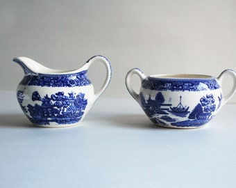 Vintage White With Asian Blue Background Scene Sugar Creamer Set