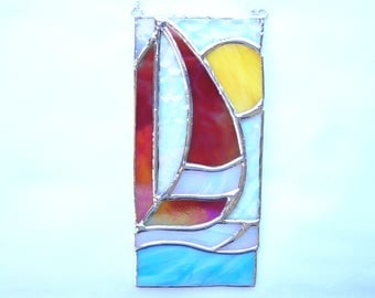 Sail Boat Stained Glass Suncatcher