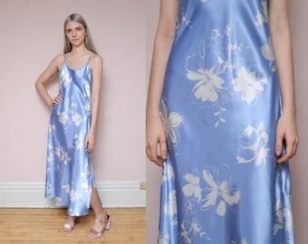 90s Satin Dress S Baby Blue Silky Floral Dress Spring Dress Flirty Dress High Slit Sleeveless Slip Dress