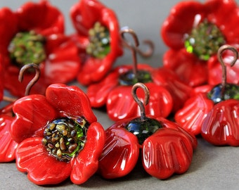 Lampwork Glass Beads Poppy, Handmade lampwork Beads Poppy, Floral Lampwork glass beads, Lampwork Flower Beads, Poppy lampwork beads SRA,