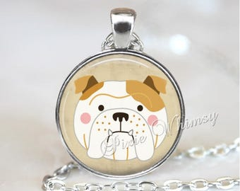 BULLDOG Pendant Necklace, English Bulldog Keychain, Bull Dog Jewelry, Dog Breed Jewelry, Gift for Dog Lover Owner, Silver or Antique Bronze