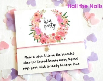 Hen Party Vintage Wreath Wish String Bracelet Card Hen Party Bachelorette Favors Gifts Star Charm Y142