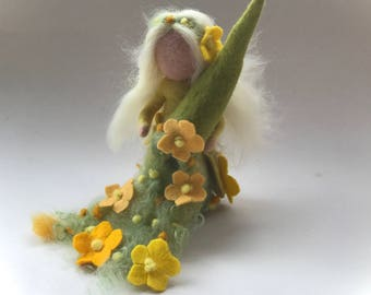 Spring Fairy.Waldorf. Hand-felted. Wet  felted. Waldorf. Spring. Seasonal.