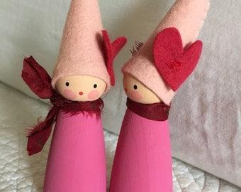 Valentine's Day - heart - felt peg doll - gnome - handmade - Waldorf inspired