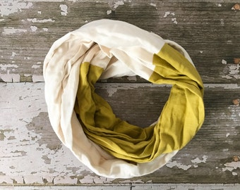 Double Gauze Infinity Scarf in Cream and Mustard