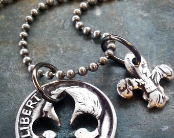 51st Birthday 1967 Fleur de lis Dime Necklace 51st Anniversary 51st Birthday Gift Coin Jewelry made from a 1967 Dime