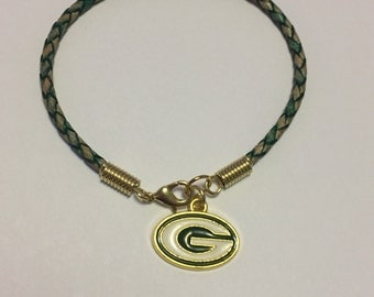 Green Bay Packers Gold Braided Leather Charm Bracelet