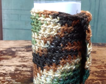 Crochet Camo Can Holder/Cozie with Covered Hand Spot for Easy Holding and Movement, Great for Camping, Festivals, Parenting or Anything Else