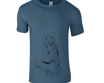 Artsy men t shirt, naked woman drawing, hippie clothing, tee shirt gift for him