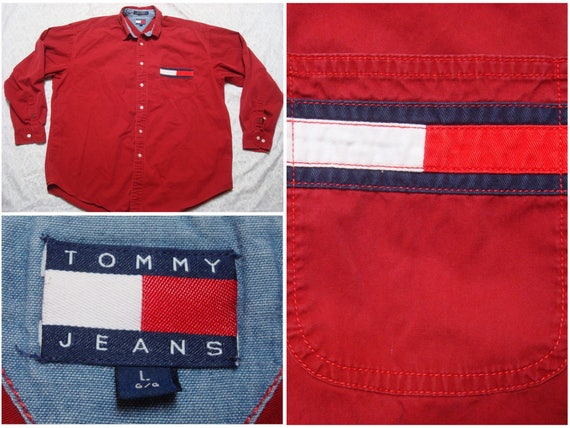 Vintage Retro Men's Tommy Jeans Tee Shirt Hilfiger Spellout Red Blue Long Sleeve XL C7uoXFT