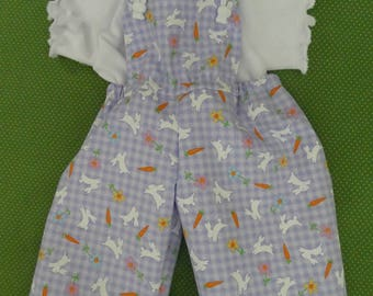 "16"" Cabbage Patch Doll Clothe  Overalls t shirt & Hair Bows,overalls,overall, bunny,carrots,bunnies, lilac,flowers,OOAK"