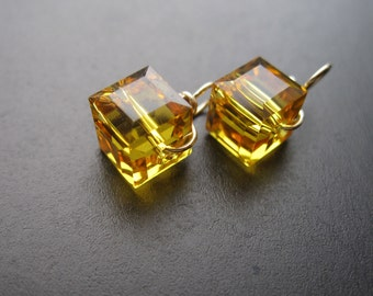 Yellow SUNFLOWER interchangeable earrings drops pair, Genuine Swarovski Crystal 6mm cube charms wire wrapped dangles, gold silver rose gold