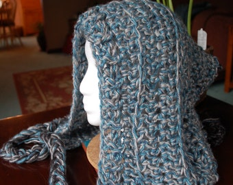 Silver and Blue Elf Hood