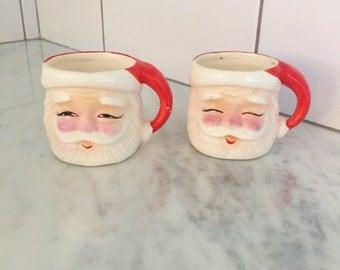 Santa Mugs, Vintage Santa Decor, Vintage Santa Mug, Made in Japan, Ceramic Santa Mug, Winking Santa Mugs