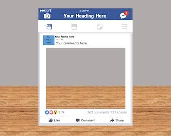 Custom Facebook Frame Photo Booth Prop Funny Prop (Digital File Only)