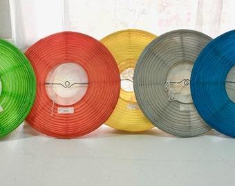 Paper Lanterns. Japanese Lanterns. Vintage. Solid, Primary Colors. Green, Orange, Yellow, Gray, Blue.