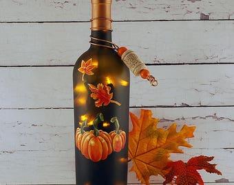 Wine bottle lamp, hand painted, orange pumpkins, fall leaves, autumn decor, Thanksgiving decor, hostess gift, wine lover gift