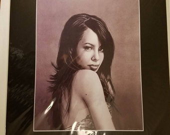 16x20 Inch Matted Print of Original Charcoal Drawing of Aaliyah