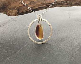 End of Day Sea Glass Circle Pendant