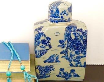 vintage blue green porcelain jar Asian lidded bottle