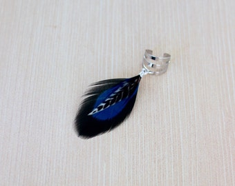 Deep Blue Feather Ear Cuff in Silver One of a Kind