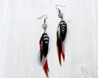 Zodiac Black and Red Feather Earrings