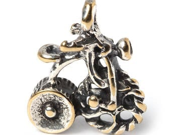 Small silver plated bicycle or pendant V3401. Silvering handmade charm, findings, bike, jewelry findings. Designed and made by Anna Bronze
