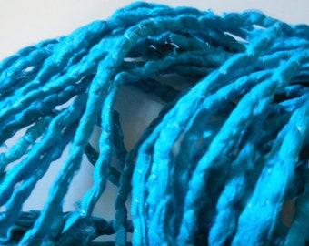 10 Yards, Aqua Blue Sari Silk Cording, Fair Trade,  from India