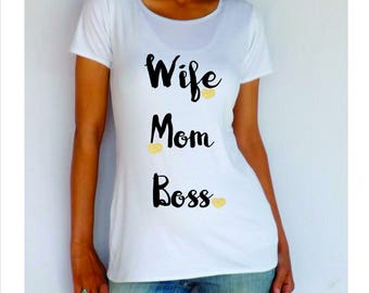 """Wife, Mom, Boss, Maternity Shirt"""" -cute maternity clothes- pregnancy clothes"""