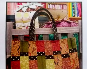 Sausalito Tote Bag Quilting Pattern, Uses 6 Fat Quarters - A Quilters Dream 6 Pack Bag Collection 11 x 18 x 3
