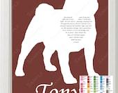 Personalized Rainbow Bridge Memorial Pug Silhouette Love Poem Pug Pet Pug Dog Memorial 8 X 10 Print