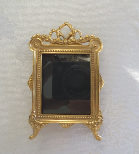 French Style Photo Frame, Picture Frame, Gold Bow and Vine, Easel Back, 3 x 2