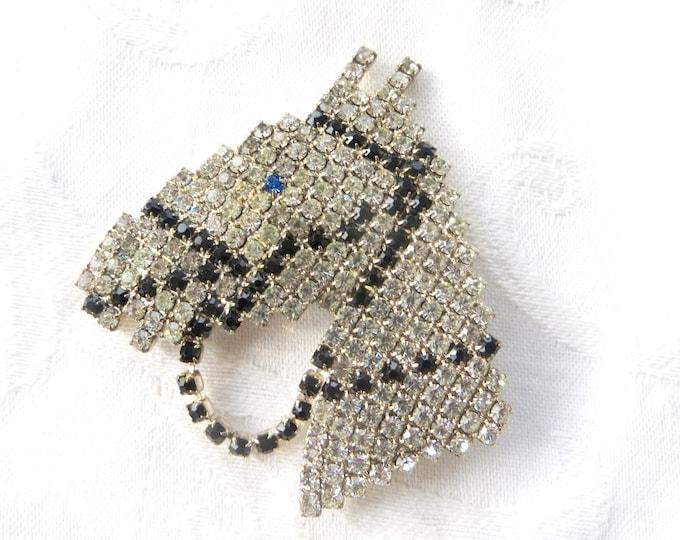 Vintage Rhinestone Horse Brooch, Rhinestone Equestrian Pin, Horse Jewelry