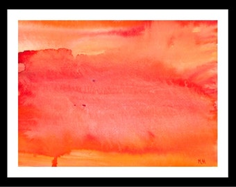 Orange Watercolour painting Orange abstract original painting Red and orange Wall art Orange painting Gift for her Abstract art 12 x 9