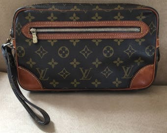 Authentic Louis Vuitton Monogram Canvas Marly Dragonne Clutch Bag.