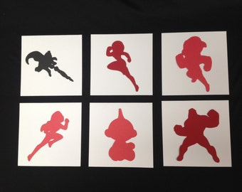1 Incredibles 5 x 7 Silhouette - You pick image, color, background; matted and ready to frame - Elastigirl, Syndrome, Dash, Jack, Violet