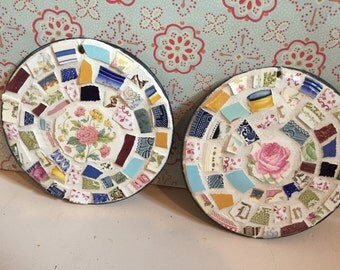 Set of 2 Broken China Round Mosaics  - Garden Decor - 100% Recycled - Indoor/Outdoor - FREE SHIPPING