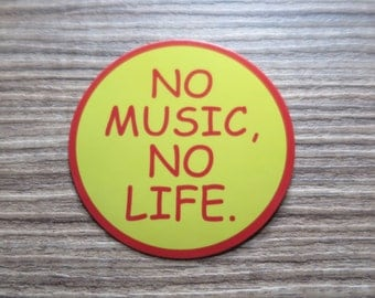 No Music No Life Sticker, 100% Waterproof Vinyl Sticker, Pop Culture Transparent Sticker